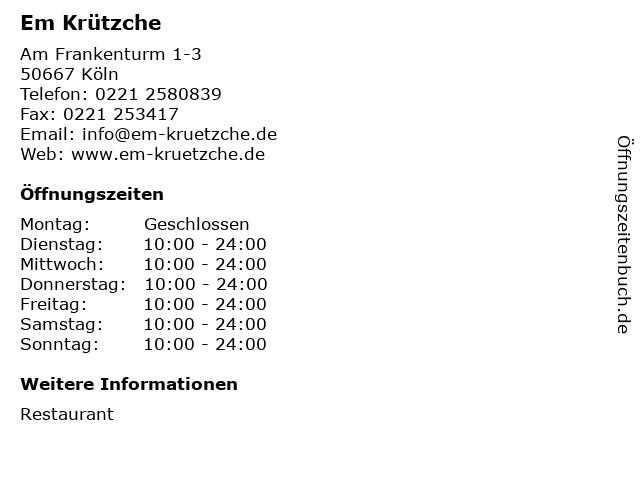 Em Krützche in Köln: Adresse und Öffnungszeiten