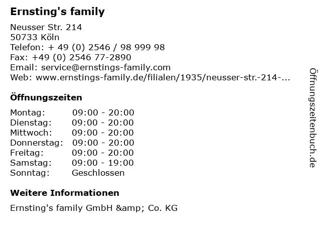Ernsting's family GmbH & Co. KG in Köln: Adresse und Öffnungszeiten