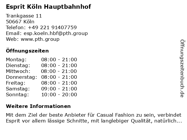 Esprit Köln Hauptbahnhof in Köln: Adresse und Öffnungszeiten