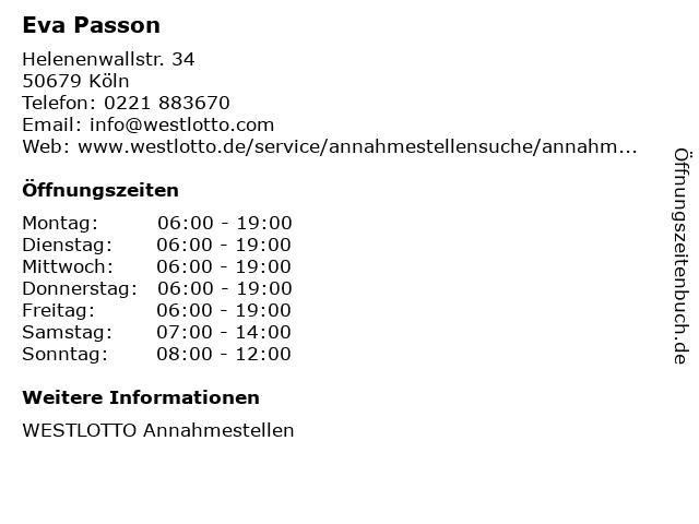 Eva Passon in Köln: Adresse und Öffnungszeiten
