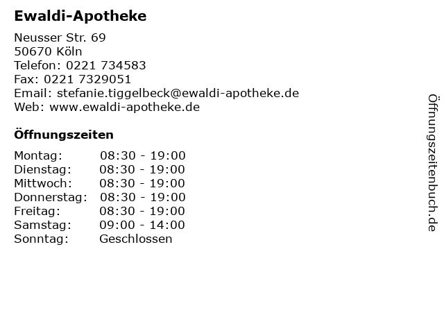Ewaldi-Apotheke in Köln: Adresse und Öffnungszeiten