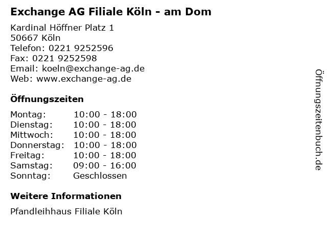 Exchange AG Filiale Köln - am Dom in Köln: Adresse und Öffnungszeiten