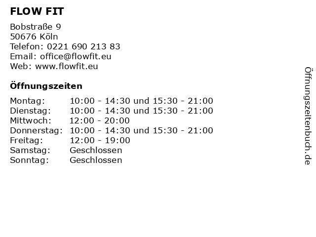FLOW FIT in Köln: Adresse und Öffnungszeiten