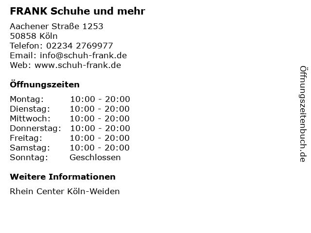 FRANK Schuhe und mehr in Köln: Adresse und Öffnungszeiten