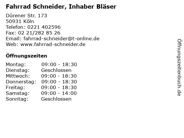 Fahrrad Schneider, Inhaber Bläser in Köln: Adresse und Öffnungszeiten