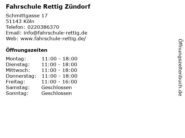 Fahrschule Rettig Zündorf in Köln: Adresse und Öffnungszeiten