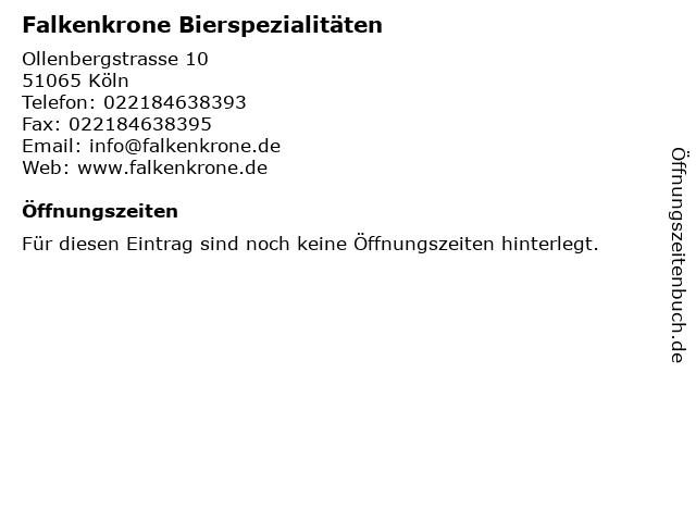 Falkenkrone Bierspezialitäten in Köln: Adresse und Öffnungszeiten