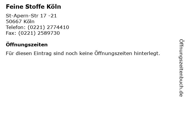 ᐅ öffnungszeiten Feine Stoffe Köln St Apern Str 17 21 In Köln