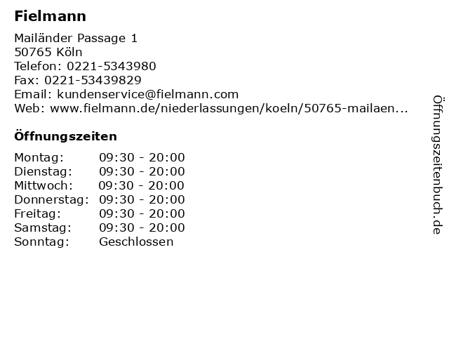 Fielmann in Köln: Adresse und Öffnungszeiten