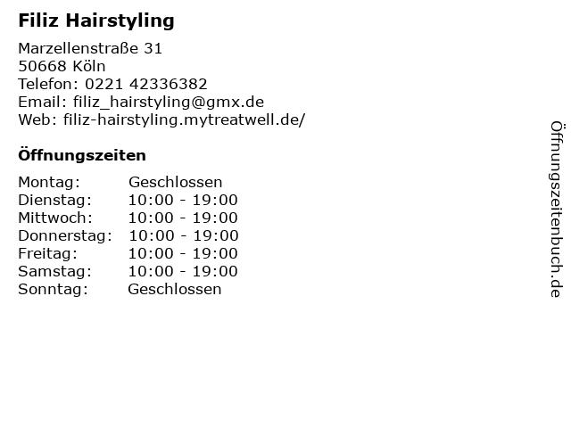 Filiz Hairstyling in Köln: Adresse und Öffnungszeiten