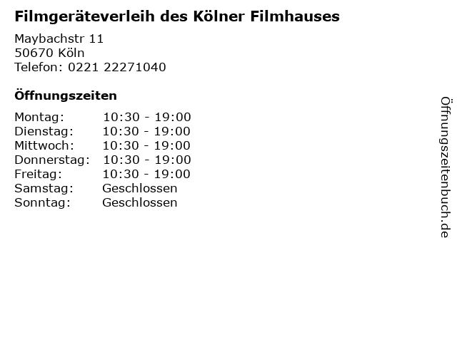 Filmgeräteverleih des Kölner Filmhauses in Köln: Adresse und Öffnungszeiten