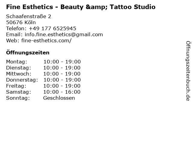 Fine Esthetics - Beauty & Tattoo Studio in Köln: Adresse und Öffnungszeiten