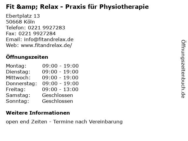 Fit & Relax - Praxis für Physiotherapie in Köln: Adresse und Öffnungszeiten