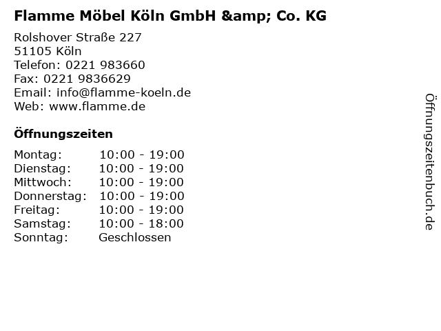 ᐅ Offnungszeiten Flamme Mobel Koln Gmbh Co Kg Rolshover Strasse 227 In Koln