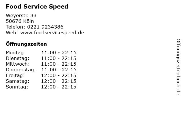 Food Service Speed in Köln: Adresse und Öffnungszeiten