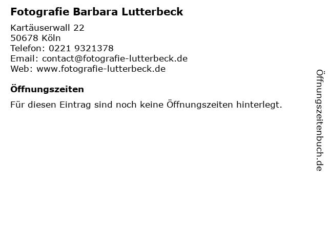 Fotografie Barbara Lutterbeck in Köln: Adresse und Öffnungszeiten