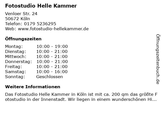 Fotostudio Helle Kammer in Köln: Adresse und Öffnungszeiten