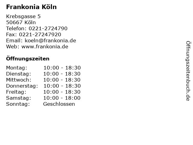 Frankonia Köln in Köln: Adresse und Öffnungszeiten