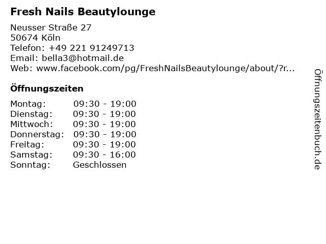 Fresh Nails Beautylounge in Köln: Adresse und Öffnungszeiten