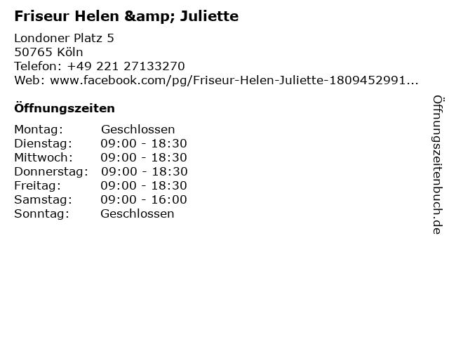 Friseur Helen & Juliette in Köln: Adresse und Öffnungszeiten