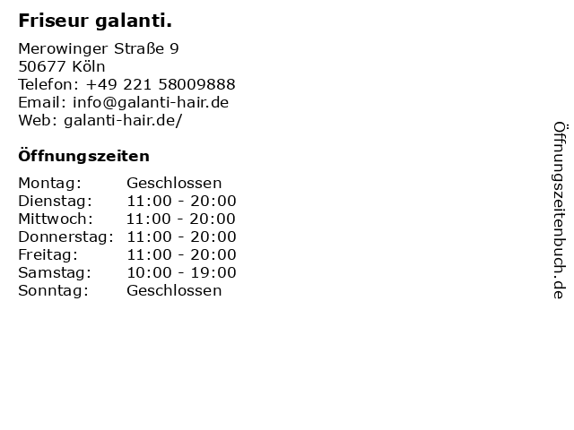 Friseur galanti. in Köln: Adresse und Öffnungszeiten