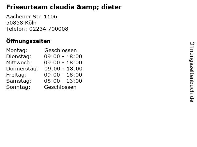 Friseurteam claudia & dieter in Köln: Adresse und Öffnungszeiten