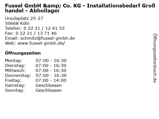 Fussel GmbH & Co. KG - Installationsbedarf Großhandel - Abhollager in Köln: Adresse und Öffnungszeiten