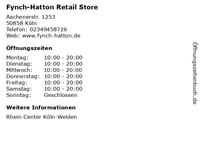 Fynch-Hatton Retail Store in Köln: Adresse und Öffnungszeiten