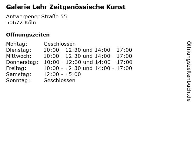 Galerie Lehr Zeitgenössische Kunst in Köln: Adresse und Öffnungszeiten