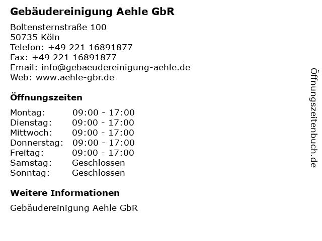 Gebäudereinigung Aehle GbR in Köln: Adresse und Öffnungszeiten