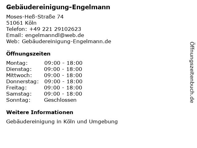 Gebäudereinigung-Engelmann in Köln: Adresse und Öffnungszeiten