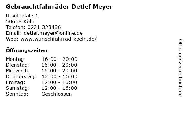 Gebrauchtfahrräder Detlef Meyer in Köln: Adresse und Öffnungszeiten