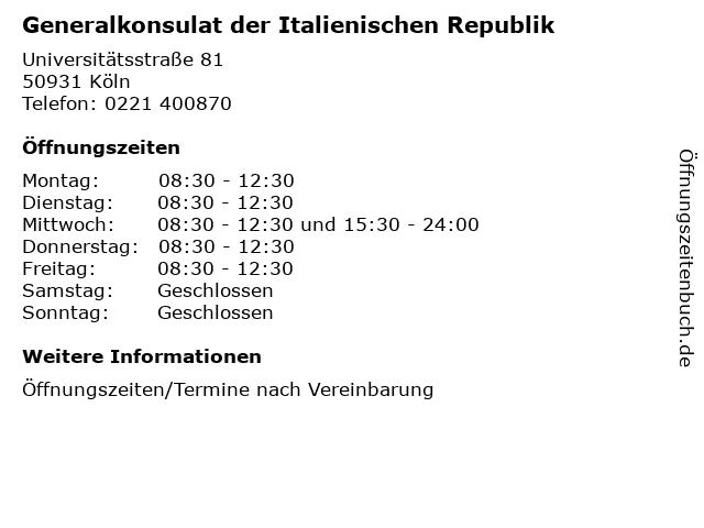 Generalkonsulat der Italienischen Republik in Köln: Adresse und Öffnungszeiten
