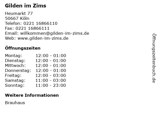 Gilden im Zims in Köln: Adresse und Öffnungszeiten