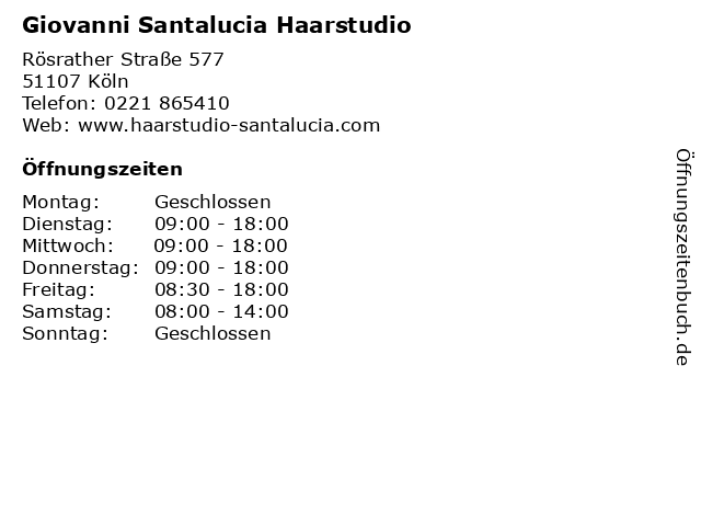 Giovanni Santalucia Haarstudio in Köln: Adresse und Öffnungszeiten