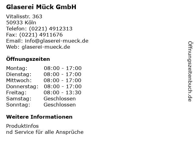 Glaserei Mück GmbH Vertreten durch Herrn Lukas Czoska in Köln: Adresse und Öffnungszeiten