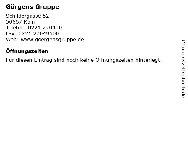 Görgens Gruppe in Köln: Adresse und Öffnungszeiten