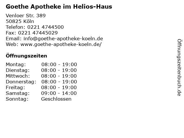 Goethe Apotheke im Helios-Haus in Köln: Adresse und Öffnungszeiten