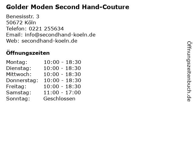 Golder Moden Second Hand-Couture in Köln: Adresse und Öffnungszeiten