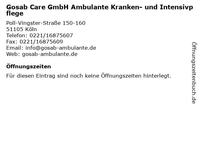 Gosab Care GmbH Ambulante Kranken- und Intensivpflege in Köln: Adresse und Öffnungszeiten