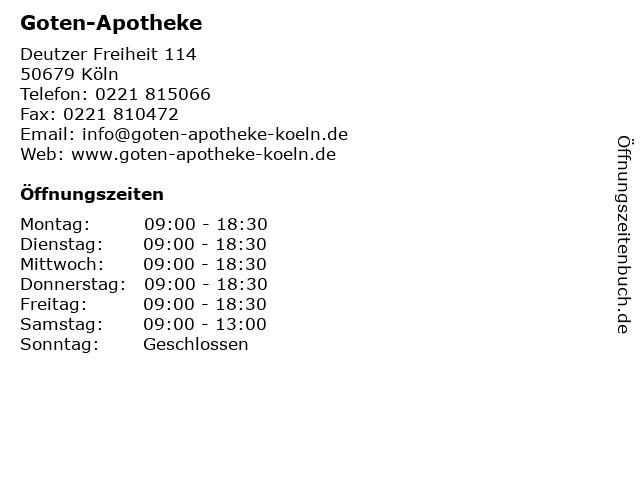 Goten-Apotheke in Köln: Adresse und Öffnungszeiten