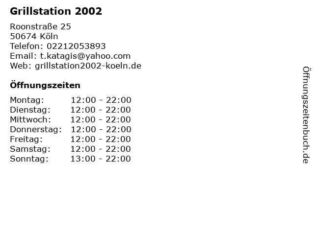 Grillstation 2002 in Köln: Adresse und Öffnungszeiten