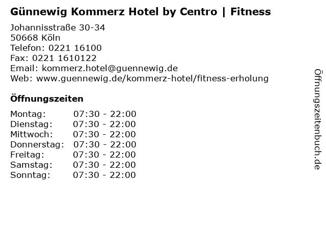 Günnewig Kommerz Hotel by Centro   Fitness in Köln: Adresse und Öffnungszeiten