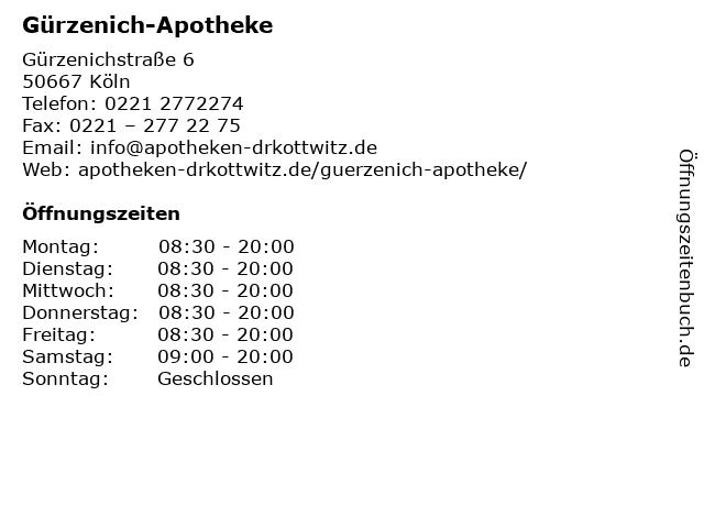 Gürzenich-Apotheke in Köln: Adresse und Öffnungszeiten