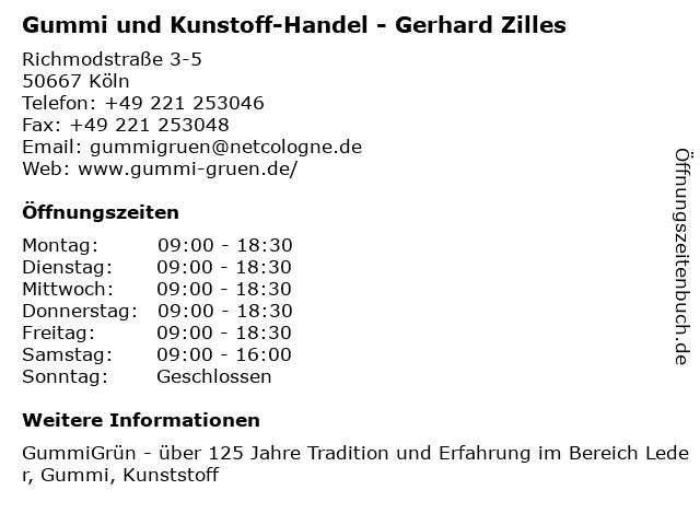 Gummi und Kunstoff-Handel - Gerhard Zilles in Köln: Adresse und Öffnungszeiten