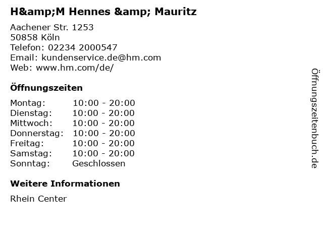 H&M Hennes & Mauritz in Köln: Adresse und Öffnungszeiten