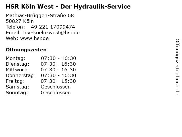 HSR Der Hydraulik-Service in Köln: Adresse und Öffnungszeiten