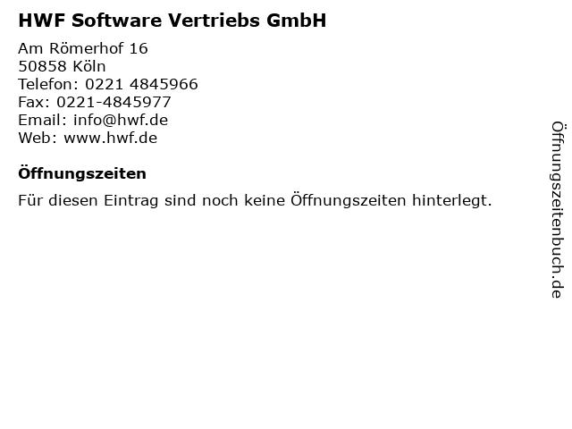HWF Software Vertriebs GmbH in Köln: Adresse und Öffnungszeiten