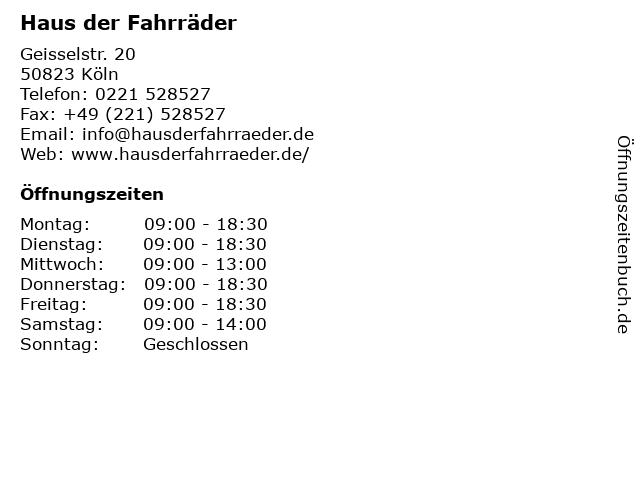 Haus der Fahrräder in Köln: Adresse und Öffnungszeiten