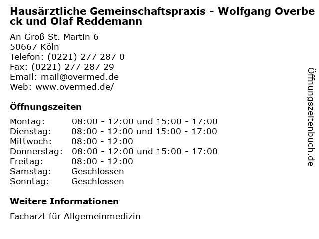 Hausärztliche Gemeinschaftspraxis - Wolfgang Overbeck und Olaf Reddemann in Köln: Adresse und Öffnungszeiten